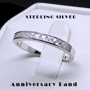 925 Sterling Silver Princess Cut Anniversary Band